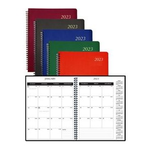 Spiral Monthly Desk Planner with Leatherette Cover