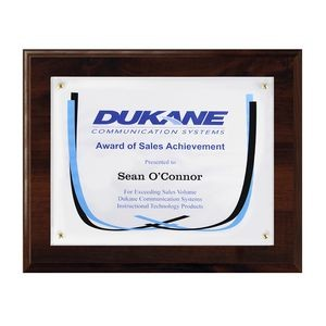 "Certificate/Overlay Walnut Finish Plaque for 8"" x 6"" Insert with Mailer Box"