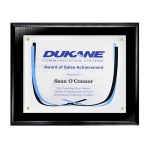 "Certificate/Overlay Ebony Finish Plaque for 8"" x 6"" Insert with Mailer Box"