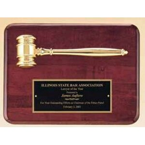 "Rosewood Plaque w/ Gold Electroplate Metal Gavel (9""x12"")"