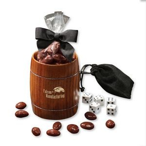 Classic Wooden Barrel Cup with Chocolate Covered Almonds