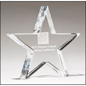 "Chrome Plated Mounted Metal Star Award w/Crystal Base (4""x 8"")"