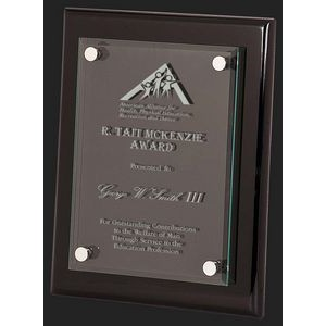 Floating Glass with Black Piano Finish Plaque Award L