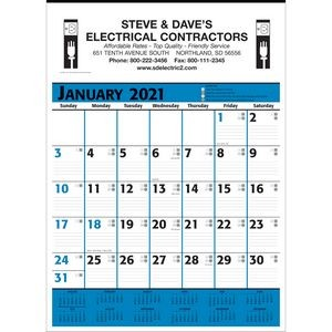 Commercial Planner Wall Calendar - Blue & Black - 2021