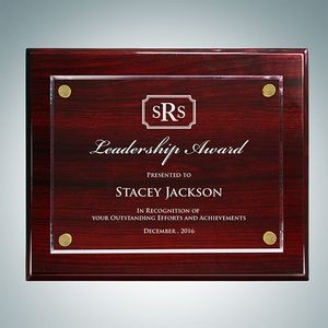 Rosewood Piano Finish Plaque Floating Acrylic Plate (Large)