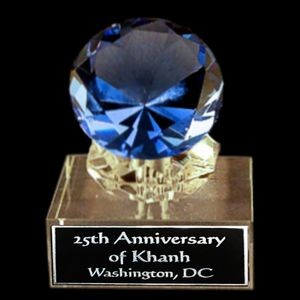 "Solid Crystal Engraved Paperweight - Blue Diamond - 4"" Small"